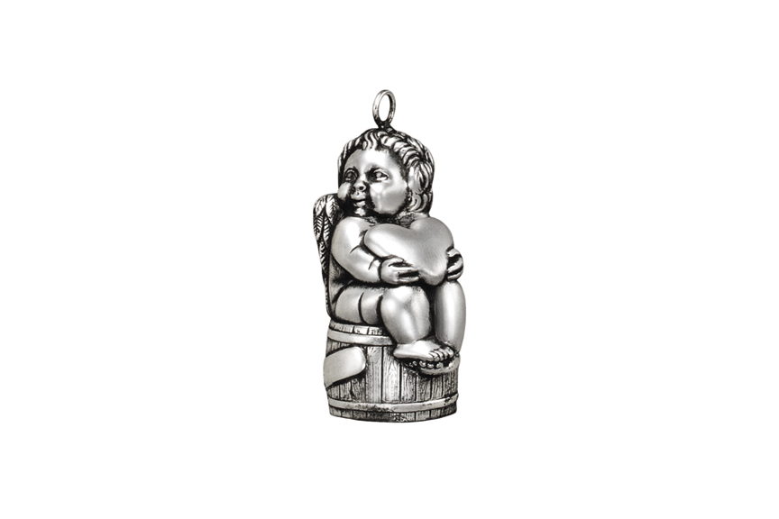Galmer Silver Boy on Barrel Ornament