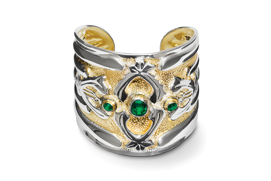 Galmer Silver Abbey Cuff with Green Topaz, photography by [ZeO].