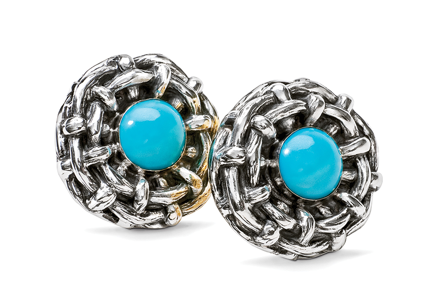 Galmer Silver Turquoise Bamboo Earrings, photography by [ZeO].