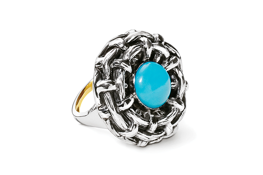 Sterling silver Turquoise Bamboo Ring designed by Michael Galmer. Photography by Zephyr Ivanisi and Oliver Ivanisi of [ZeO] Productions.