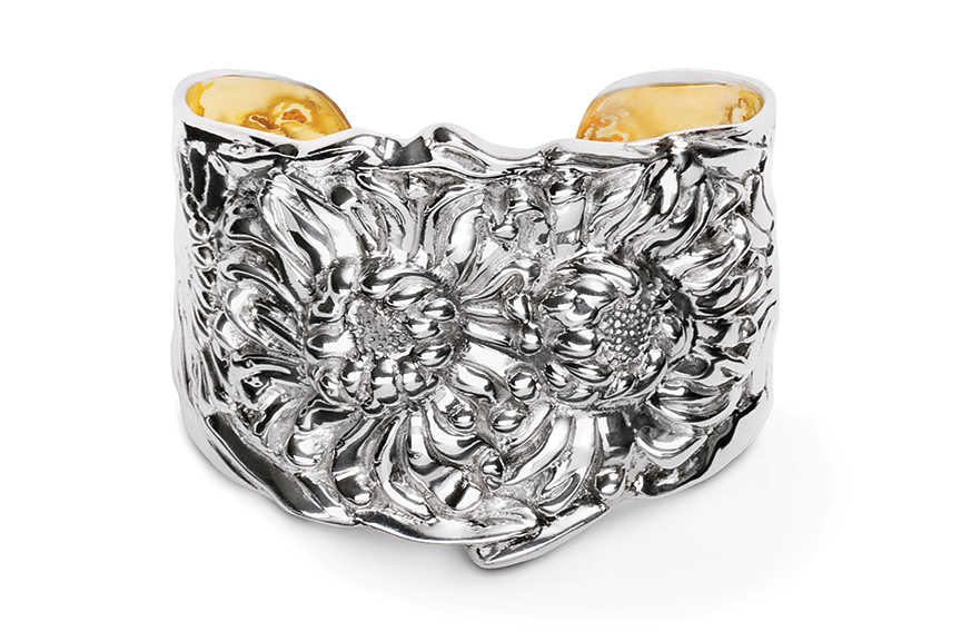 Sterling silver Chrysanthemum Cuff designed by Michael Galmer. Photography by Zephyr Ivanisi and Oliver Ivanisi of [ZeO] Productions.