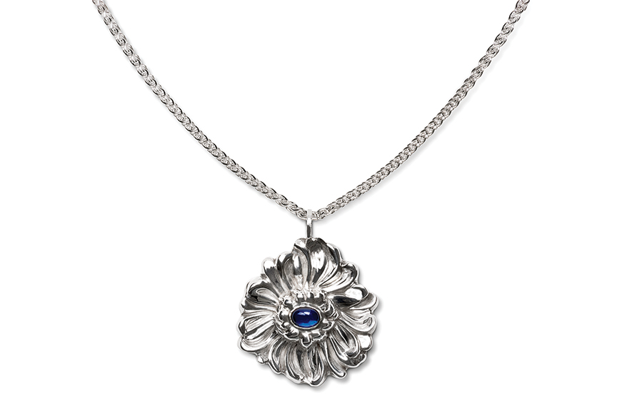 Sterling silver Sapphire Chrysanthemum Pendant designed by Michael Galmer. Photography by Zephyr Ivanisi and Oliver Ivanisi of [ZeO] Productions.